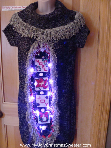 Ugly Christmas Sweater Party Tacky Dress with Lights (d42)