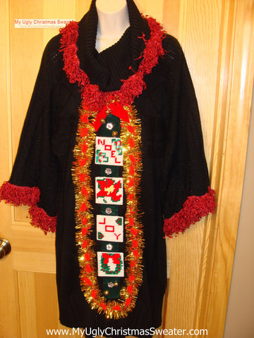 Ugly Christmas Sweater Party Tacky Dress with Super-Wide Sleeves and Festive Fringe (d44)