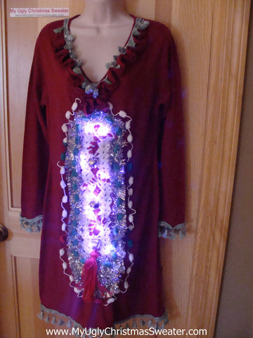 Ugly Christmas Sweater Party Tacky Dress with Lights (d45)