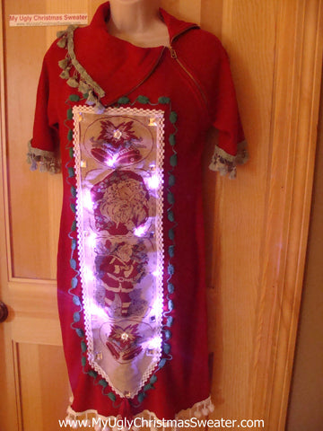 Ugly Christmas Sweater Party Tacky Dress with Lights (d46)