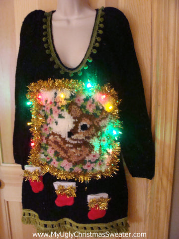 Ugly Christmas Sweater Party Tacky Dress with Lights & Hook Rug Reindeer (d51)