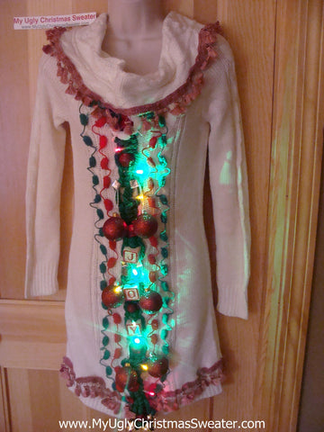 Ugly Christmas Sweater Party Tacky Dress with Lights & Macrame JOY (d52)