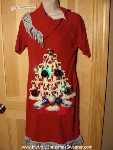 Ugly Christmas Sweater Party Tacky Dress with Lights & Macrame Tree (d54)