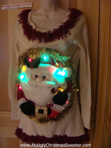 Ugly Christmas Sweater Party Tacky Dress with Puffy Santa and Lights (d55)