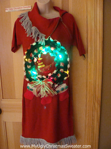 Ugly Christmas Sweater Party Tacky Dress with Lights (d56)