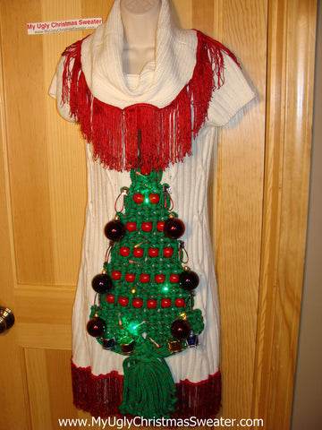 Ugly Christmas Sweater Party Tacky Dress with Lights and Macrame Tree (d58)