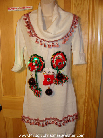 Ugly Christmas Sweater Party Tacky Dress with Lights and 3D Macrame Naughty Decorations (d62)