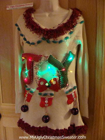 Ugly Christmas Sweater Party Tacky Dress with Lights and JOY (d63)