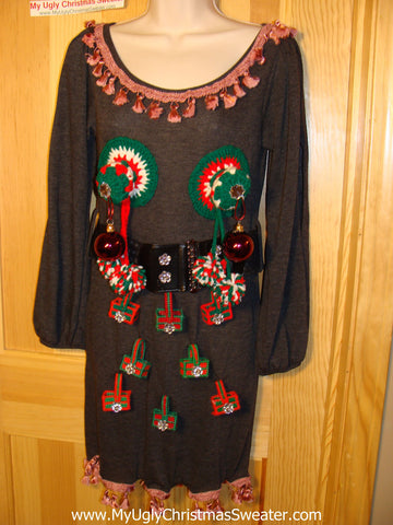 Ugly Christmas Sweater Party Tacky Dress with 3D Naughty Macrame Decorations (d64)
