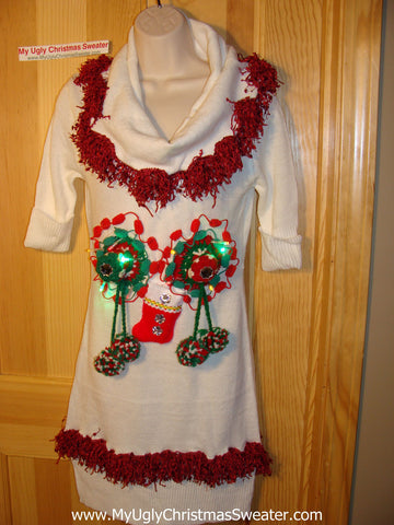 Ugly Christmas Sweater Party Tacky Dress Naughty Dangling 3D Decorations with Lights (d66)