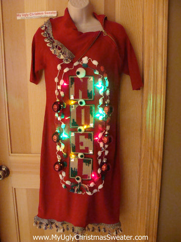 Ugly Christmas Sweater Party Tacky Dress with Lights (d67)