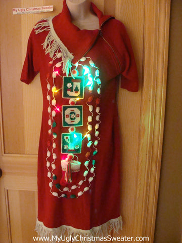 Ugly Christmas Sweater Party Tacky Dress with Lights (d68)