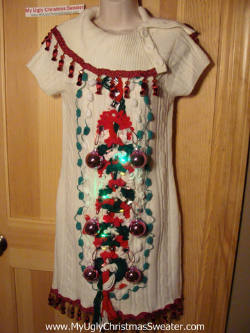 Ugly Christmas Sweater Party Tacky Dress with Lights (d69)