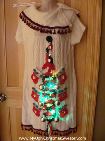 Ugly Christmas Sweater Party Tacky Dress with Lights (d70)