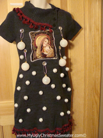 Ugly Christmas Sweater Party Tacky Dress with Mary and Baby Jesus and 3D Ornaments (d71)