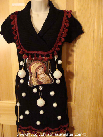 Ugly Christmas Sweater Party Tacky Dress with Mary and Baby Jesus and 3D Ornaments (d73)