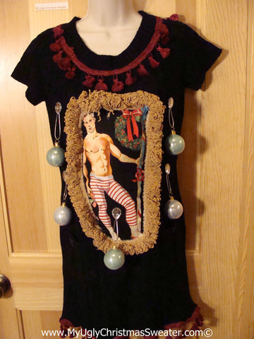 Ugly Christmas Sweater Party Tacky Dress Hottie Guy & Real Ornaments (d75)