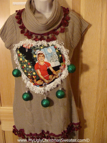 Ugly Christmas Sweater Party Tacky Dress Hottie Guy & Real Ornaments (d76)