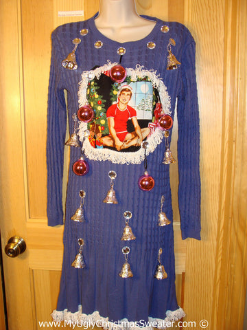 Ugly Christmas Sweater Party Tacky Dress Hottie Guy & Real Ornaments (d78)