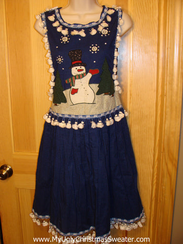 Ugly Christmas Sweater Party Tacky Dress Jumper with Snowman and Tassle Fringe (d7)