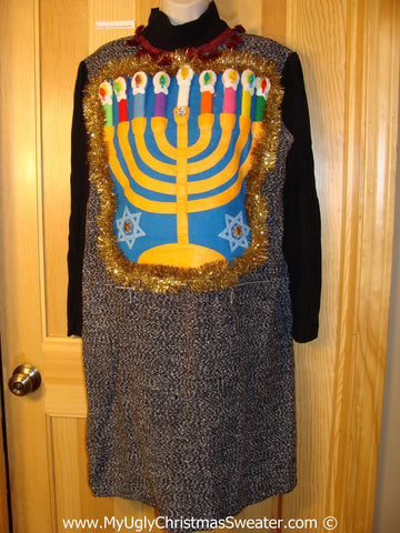 Ugly Christmas Sweater Party Hanukkah Dress with Menorah (d79)