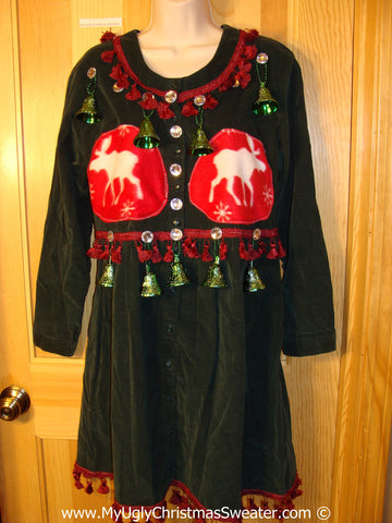 Ugly Christmas Sweater Party Tacky Dress Reindeer and Fake Bells (d84)