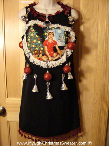 Ugly Christmas Sweater Party Tacky Dress Hottie Guy & Real Ornaments (d85)