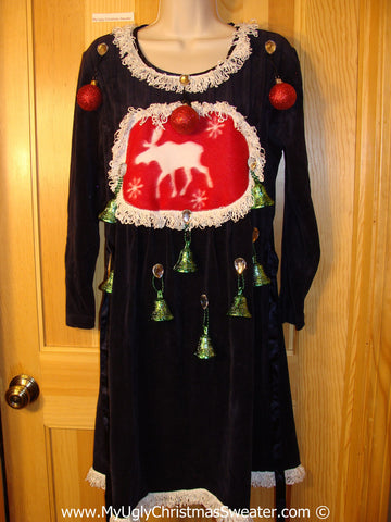 Ugly Christmas Sweater Party Tacky Dress with Reindeer (d88)
