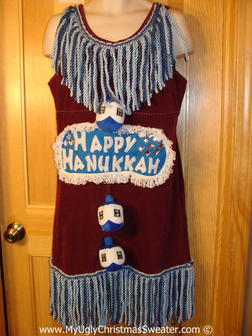 Ugly Christmas Sweater Party Hanukkah Tacky Dress with Dreidel (d89)