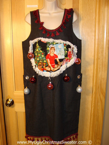 Ugly Christmas Sweater Party Tacky Dress Jumper Hottie Guy & Real Ornaments (d92)