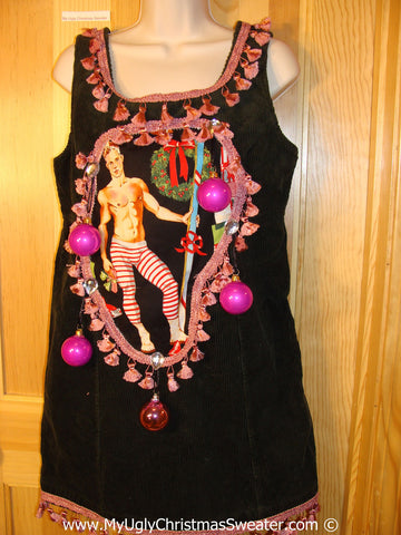 Ugly Christmas Sweater Party Tacky Dress Hottie Guy & Real Ornaments (d94)