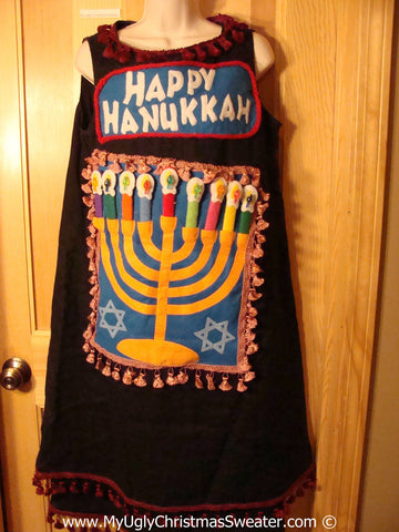 Ugly Christmas Sweater Party Tacky Hanukkah Jumper Dress (d95)