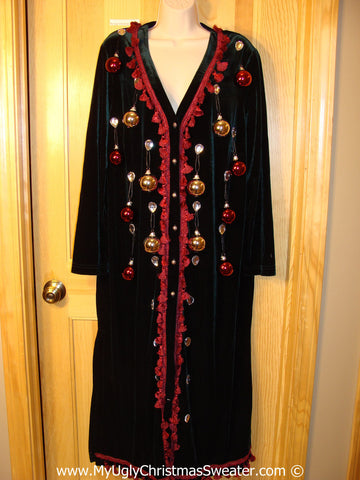 Ugly Christmas Sweater Party Tacky Dress / Long Jacket with 3D Ornaments (d96)