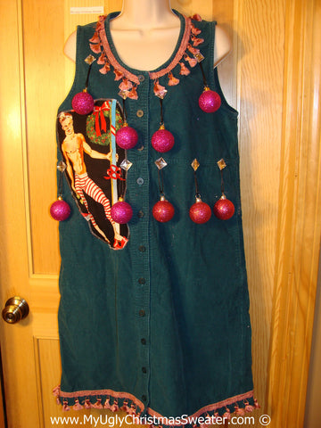 Ugly Christmas Sweater Party Tacky Dress Hottie Guy & Real Ornaments (d98)