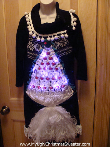 Ugly Christmas Sweater Party Tacky Dress 3D Macrame Tree with Lights (d9)
