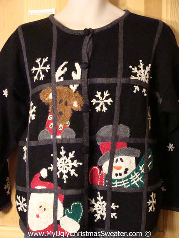 Tacky Holiday Sweater with Peeping Tom Reindeer, Santa and Snowman on Front and Back (f1000)
