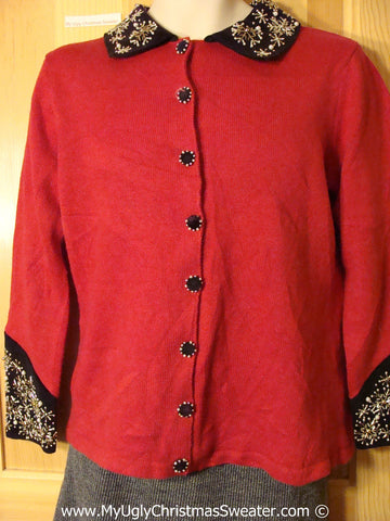 Cheap Tacky Red Sweater with Bling Accents (f1002)