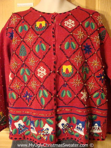 Tacky Holiday Sweater with Bling Bells, Ivy, and Wreaths (f1003)