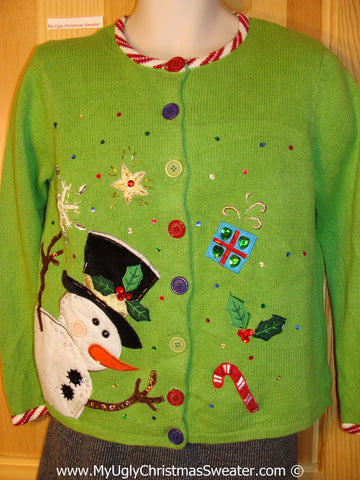 Tacky Green Sweater with Snowman with Huge Carrot Nose and Bling Decorations (f1004)