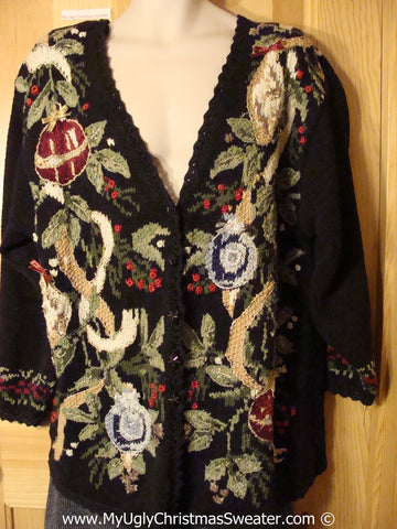 Tacky 80s Sweater with Padded Shoulders and Overgrown Ivy and Ornaments (f1005)