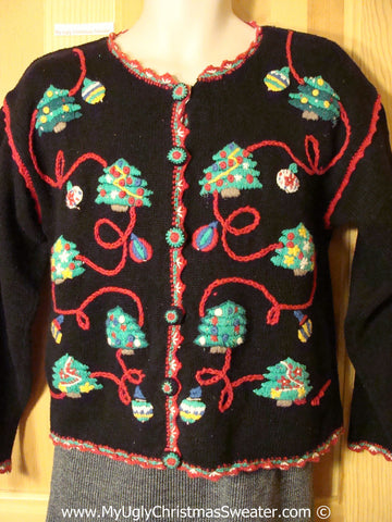 80s Tacky Holiday Sweater with Padded Shoulders and Strings of Trees and Ornaments (f1006)