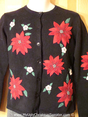 Tacky Holiday Sweater with Huge Red Poinsettias on Front, Back (one on back), and Sleeves (f1007)
