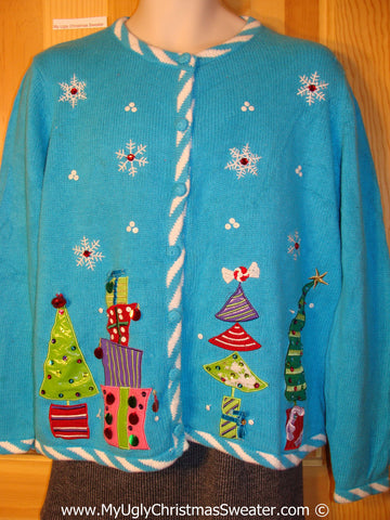 Tacky Holiday Sweater with Pointy Trees and Gem Bling (f1008)