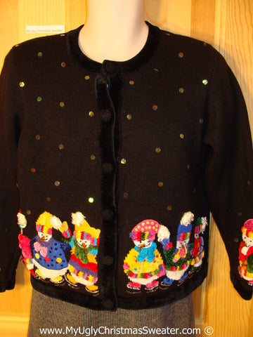 Tacky Holiday Sweater with Colorful Bling Snowman Friends (f1010)