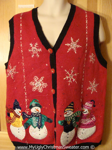 Tacky Holiday Sweater  Vest with Four Festive Carrot Nosed Snowman Friends (f1012)