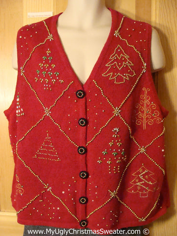 Tacky Holiday Sweater  Vest with Bling Trees (f1013)
