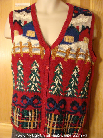 Tacky Holiday Sweater Vest with Colorful Winter Wonderland with Trees, Bows, and Plaid Accents (f1014)