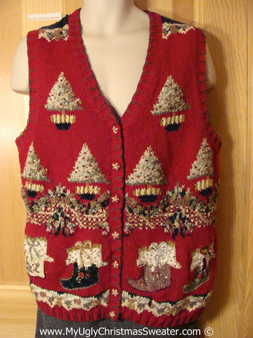 Tacky Holiday Sweater  Vest with Festive Snowy Trees and Festive Stockings (f1015)