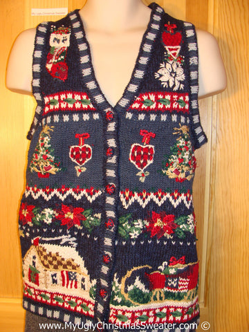 Tacky Holiday Sweater Vest with Crafty Plaid Theme House, Hearts and Stockings (f1016)