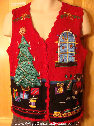 Tacky Holiday Sweater Vest with Satiny Shiny Tree and Window Scene with Gifts  (f1017)